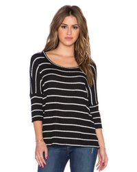 Chaser - Black Stripe Thermal Boxy Tee - Lyst