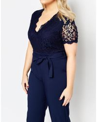 Club L - Blue Plus Size Jumpsuit With Scallop Lace Top - Lyst