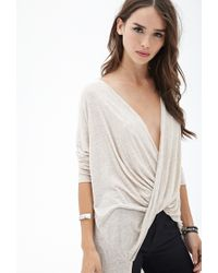 Forever 21 - Natural Twist-front Knit Top You've Been Added To The Waitlist - Lyst