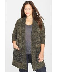 Caslon | Green Jacquard Open Front Cardigan | Lyst
