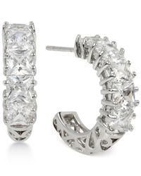 Betsey Johnson - Metallic Silver-tone Square-cut Crystal Hoop Earrings - Lyst