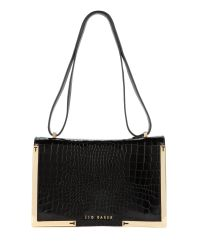 Ted Baker - Black Leather Metal Corners Bag - Lyst