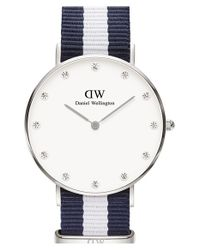 Daniel Wellington | Blue 'classy Glasgow' Crystal Index Nato Strap Watch | Lyst