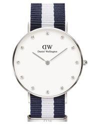 Daniel Wellington - Blue 'classy Glasgow' Crystal Index Nato Strap Watch - Lyst