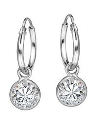Aeravida | Metallic Elegant White Cubic Zirconia Dangle Sterling Silver Hoop Earrings | Lyst
