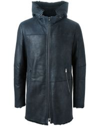 DROMe - Blue Leather Parka Coat for Men - Lyst