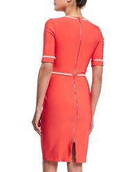 Mugler - Orange Pearl Trim Half-Sleeve Dress - Lyst