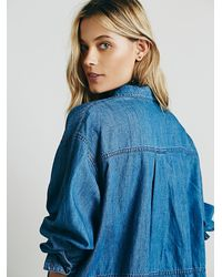 Free People | Blue Extreme Pocket Buttondown | Lyst