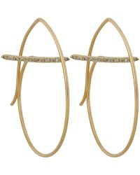 Hirotaka - White Floating-diamond-bar Round Earrings - Lyst