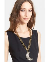 Lanvin | Metallic 'star' Moon Pendant Necklace | Lyst