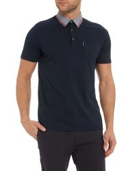 Ben Sherman - Blue Gingham Tipped Collar Polo for Men - Lyst