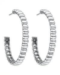 John Hardy - Metallic Bedeg Silver Large Hoop Earrings - Lyst