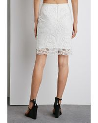 Forever 21 | White Lace Overlay Pencil Skirt | Lyst