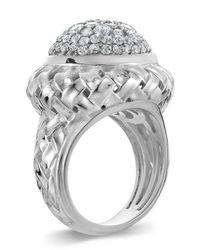 Slane | Basket-weave White Sapphire Pave Ring | Lyst