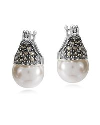 Aeravida | Metallic Vintage Flair Marcasite And Pearl .925 Silver 12mm Earrings | Lyst