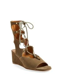 Chloé | Green 70mm Gladiator Suede Wedges | Lyst