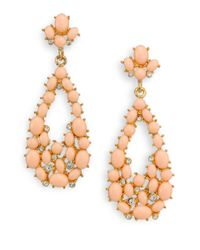 Kenneth Jay Lane | Metallic Cabochon Cluster Teardrop Earrings | Lyst