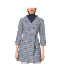 Michael Kors - Gray Gingham Techno-Twill Trenchcoat - Lyst