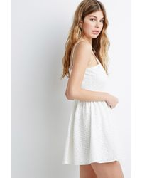 Forever 21 - Natural Floral-embroidered Fit & Flare Dress - Lyst