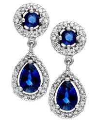 Macy's | Blue Sapphire (1-1/3 Ct. T.w.) And Diamond (3/8 Ct. T.w.) Drop Earrings In 14k White Gold | Lyst