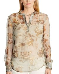 Lauren by Ralph Lauren - Gray Plus Floral Georgette Boho Top - Lyst