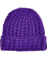 River Island - Purple Chunky Knit Beanie Hat for Men - Lyst