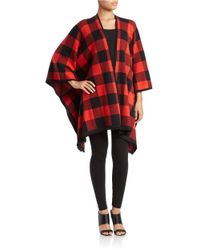Kensie   Red Checked Open-front Poncho   Lyst