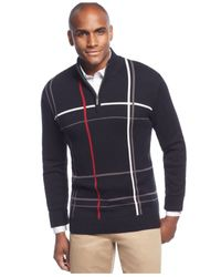 Geoffrey Beene | Black Big And Tall Windowpane Quarter-zip Pullover Jacket for Men | Lyst