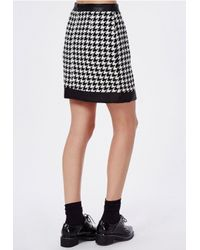 Missguided - Contrast Trim Dogtooth Mini Skirt Black - Lyst