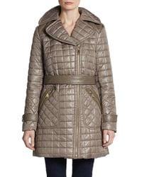 Via Spiga | Green Quilted Zip Front Jacket Olive Xs | Lyst