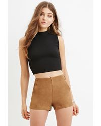 Forever 21 | Black Mock Neck Textured Crop Top | Lyst
