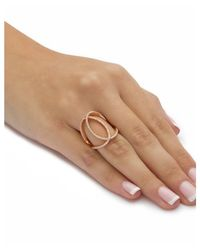 Palmbeach Jewelry - Pink .50 Tcw Cubic Zirconia Interlocking Loop Cocktail Ring In Rose-plated .925 Sterling Silver - Lyst
