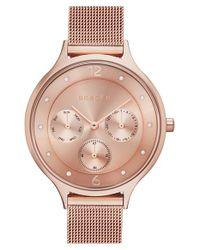 Skagen - Metallic 'anita' Crystal Index Chronograph Mesh Strap Watch - Lyst