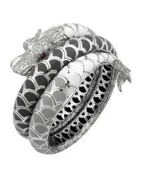 John Hardy - Naga Enamel Ombre Coil Bracelet With Pave White Sapphires - Lyst