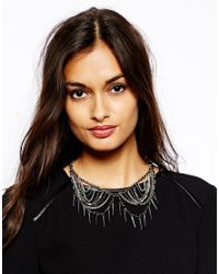 French Connection - Metallic Chain and Spike Collar Necklace - Lyst