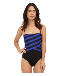 DKNY | Blue Iconic Stripe Layered Bandeau Maillot W/ Removable Soft Cups | Lyst
