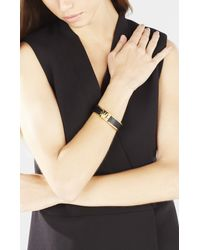 BCBGMAXAZRIA - Black Faux-leather Pyramid Cuff - Lyst