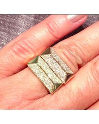 Anne Sisteron - 14kt Yellow Gold Diamond Pyramid Bar Ring - Lyst