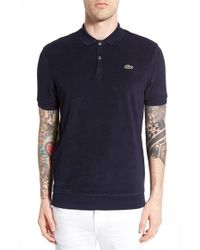 Lacoste terry cloth polo in black for men lyst for Mens terry cloth polo shirt