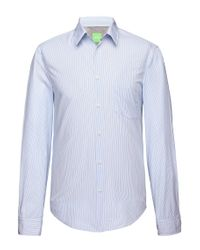 BOSS Green - Blue Regular-fit Casual Shirt: 'c-benzi' With Stripes for Men - Lyst