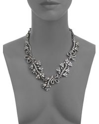 Oscar de la Renta | Metallic Crystal Baguette Leaf Necklace | Lyst