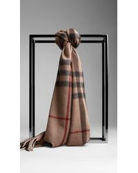 Burberry - Natural Check Cashmere Scarf for Men - Lyst