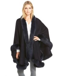 Sofia Cashmere | Blue Genuine Fox Fur Trim Cape | Lyst