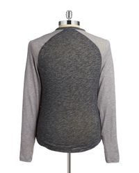 Original Penguin | Gray Raglan Henley Long-sleeve Tee for Men | Lyst