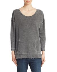 Free People | Gray Raw Edge Sweatshirt | Lyst