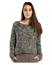 Michael Stars | Black Tweed Melange Crop Sweater With Leather Elbow Patch | Lyst