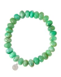 Sydney Evan - Green Chrysoprase Rondelle Beaded Bracelet With 14K White Gold Disc Charm (Made To Order) - Lyst