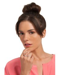 Trina Turk - Pink Domed Flower Cocktail Ring - Lyst