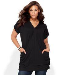 INC International Concepts - Black Plus Size Short-sleeve V-neck Tunic Top - Lyst