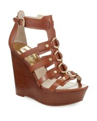 MICHAEL Michael Kors | Brown Nadine Platform Leather Wedge Sandals | Lyst